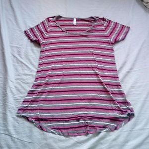 Lularoe pink gray stripe top size medium